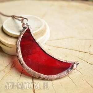 hand-made naszyjniki księżyc bordo - naszyjnik z wisiorem