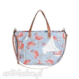 torba damska aktówka flamingo, aktówka, folia, flammingi, prezent, elegancka na