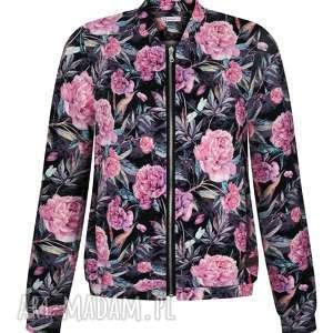 hand made bluzy urocza kobieca dzianinowa bomberka w różowe kwiaty s-xl