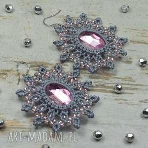 eleganckie kolczyki z kryształami -szarości i pudrowy róż