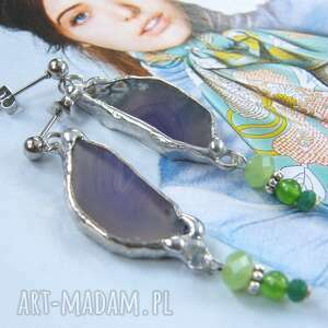 agat fioletowe kolczyki z zielenią, kolorowe, wiszące, agat, kamieni