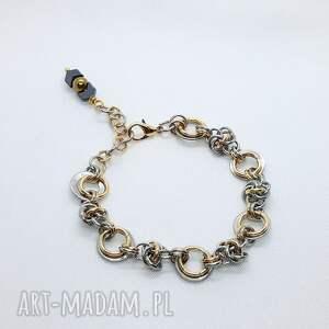 bransoletka chainmaille ze stali szlachetnej - złoty i srebrny hematyt