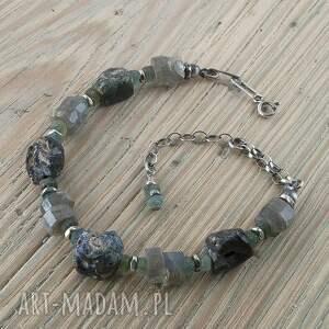 bransoletka srebrna szkło afgańskie, labradoryt, bransoleta antyczne