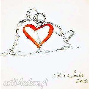 dekoracje przytuleni praca akwarelą i piórkiem, serce, szkic, para, miłość, rysunek