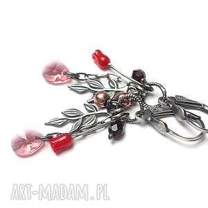Różane - kolczyki, srebro, oksydowane, koral, róże, hematyty, swarovski