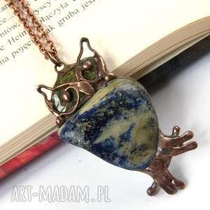 naszyjnik sowa z lapisem lazuli - sowa, kamienie-naturalne, wisior-z-lapisem