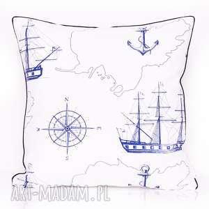 Poduszka SEA MAP 50x50cm od majunto, poduszka-marynarska, duża-poduszka