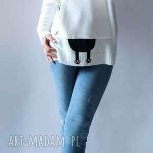 bluza, sweter z kapturem, luźna, aplikacją, kieszeniami, oversize