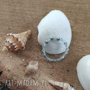 pierścionek z fluorytem - ocean blue, pierscionek, kamieniami