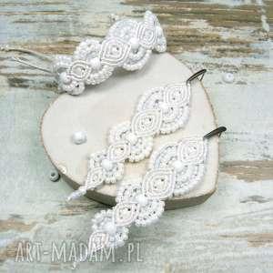 komplet biżuterii ślubnej z koralików w odcieniach bieli, ślub, komplet-ślubny