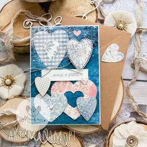 ręcznie robione scrapbooking notesy kartka z sercami, przestrzenna. Miłosna. Walentynki