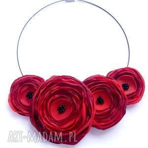 kwiatowa kolia - naszyjnik z tkaniny, kwiaty, kolia, naszyjnik, biżuteria, elegancki