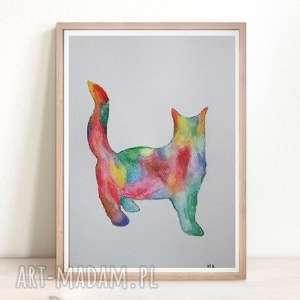 kolorowy kot - abstrakcja format 24/32 cm, kot, kolorowy, papier