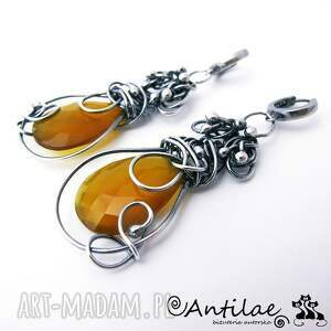 hand-made kolczyki ambar - chalcedon, srebro