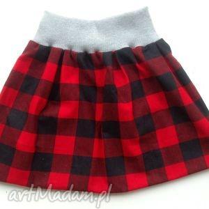 spódnica w czerwono-czarną kratę, spódnica, spódniczka, czerwona, krata, flanela