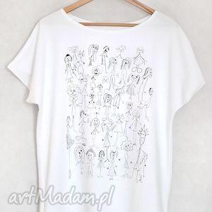 jesteŚmy dziwni koszulka bawełniana biała l/xl, koszulka, bluzka, bawełniana, t shirt