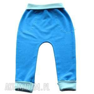 Prezent BŁĘKITNE legginsy, spodnie, baggy, dla dziewczynki, chłopca,