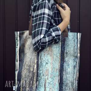 torba mr m old wood uszy skóra naturalna - oryginalna, deski, drukowana, modna
