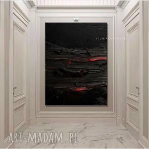 stylowe obrazy do salonu - strukturalna czern, czarna dekoracja, obraz