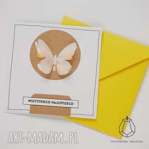 Kartka z motylkiem kartki papierowa gruszka kartka, urodzinowa