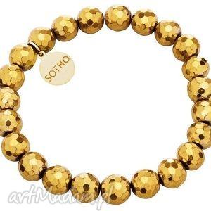 sotho złota bransoletka fasetowany złoty hematyt logowana - złoto
