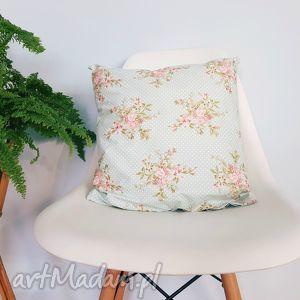 poduszka z poszewką 40x40, poduszka, poszewka, miętowa, vintage, kwiaty