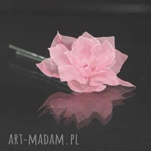 różowa kokówka 3, kokówka, swarovski, ślub, ozdoba, jedwab, kwiat