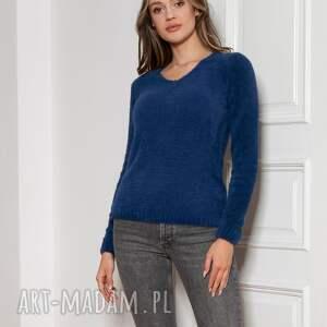 miękki, włochaty sweterek - swe147 granat, sweter, niebieski