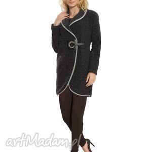 płaszcz wełniany z oryginalnym skórkowym zapięciem rozmiar 42