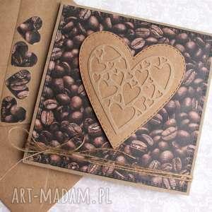 dla kawoszy kartka ślubna, miłosna, walentynkowa, serce, kawa, walentynki