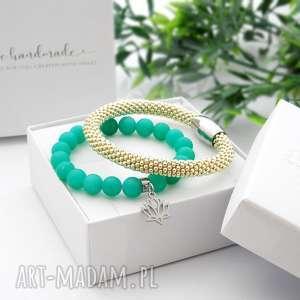 zestaw bransoletek elegance set - jadeit ii, piękne bransoletki, modna biżuteria