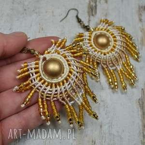Prezent Duże, eleganckie kolczyki wiszące pawie pióra w odcieniach złota
