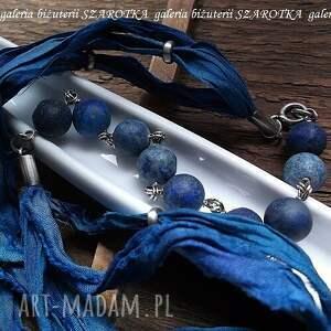 w kolorze indygo naszyjnik z lapisów lazuli, jedwabiu i srebra - lapis, lazuli, jedwab