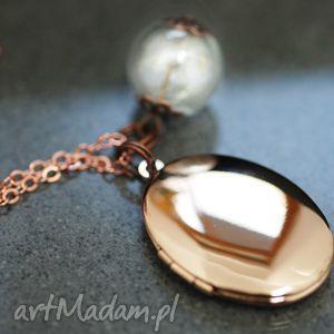 medalion z dmuchawcami pozłacany różowym złotem - medalion, kulka