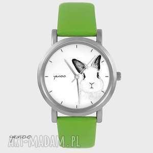ręczne wykonanie zegarki zegarek, bransoletka - królik - zielony, skórzany