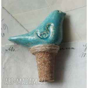 wylegarnia pomyslow korek do wina z niebieskim ptakiem, ceramika, ptak
