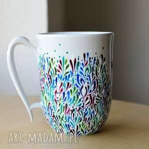 kubek ceramiczny ręcznie malowany granat zieleń szafir, kubek, ceramika