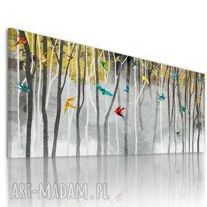 nowoczesny obraz do salonu drukowany na płótnie - abstrakcyjny pejzaż - ptaki
