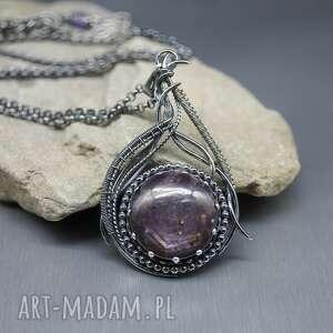 rubin gwiaździsty wisior kashafn, srebrny naszyjnik, długi wisiorek