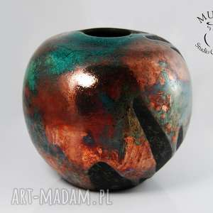 Wazon Raku, raku, ceramika, kolorowy, zielony, miedziany, wazon