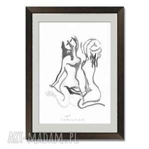 grafika dwie kobiety czarno biała a3, nowoczesna do salonu, sypialni