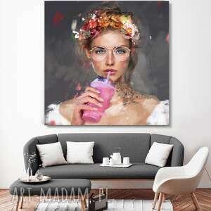 obraz na płótnie lady smoothies 80x80 cm, obraz, kuchnia, plakat, sztuka