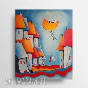 bajkowe miasteczko kotów-obraz akrylowy 40/50 cm, obraz, miasteczko, koty, akryl