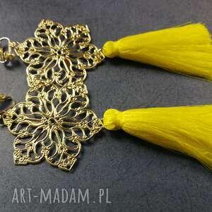 klipsy srebrno żółte kanarkowe chwosty handmade, klipsy, chwosty, wiszące, etno