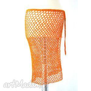spódnice narzutka ażurowa pomarańczowa, narzutka, dodatek, pareo, ażur, wiązanka