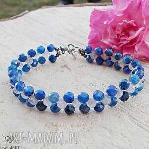 intensywnie niebieska z szarością - bransoletka, srebrna bransoletka