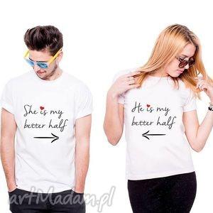 koszulka dla par she he is my better half, fan, prezent, love ubrania