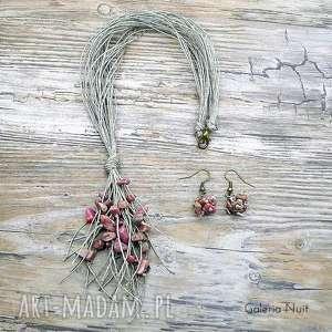 Rodonit - komplet biżuterii lnianej , rodonit, eko, naturalne, delikatne, oryginalne