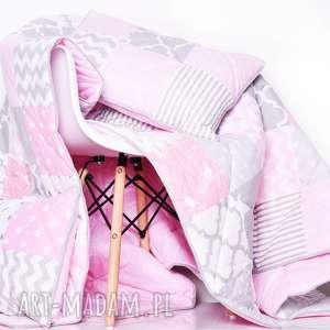 Komplet ART Narzuta GREY and PINK 155x210cm PATCHWORK, patchwork, narzuta-różowa