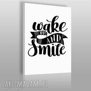 napis na płótnie - wake up and smile 50x70 cm 56857, napis, dekoracja, wystrój